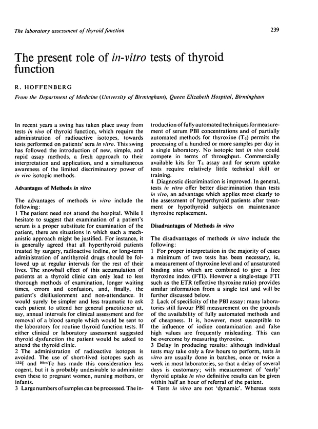 The present role of in-vitro tests of thyroid function